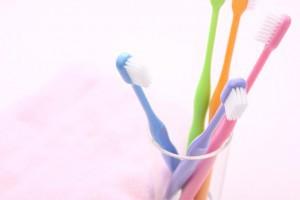 コップに入った5本の歯ブラシ